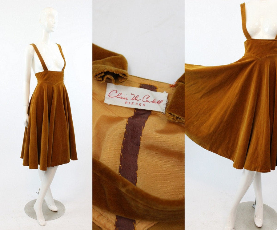 RARE 1954 Claire McCardell documented skirt  | 1950s suspender dress | xs