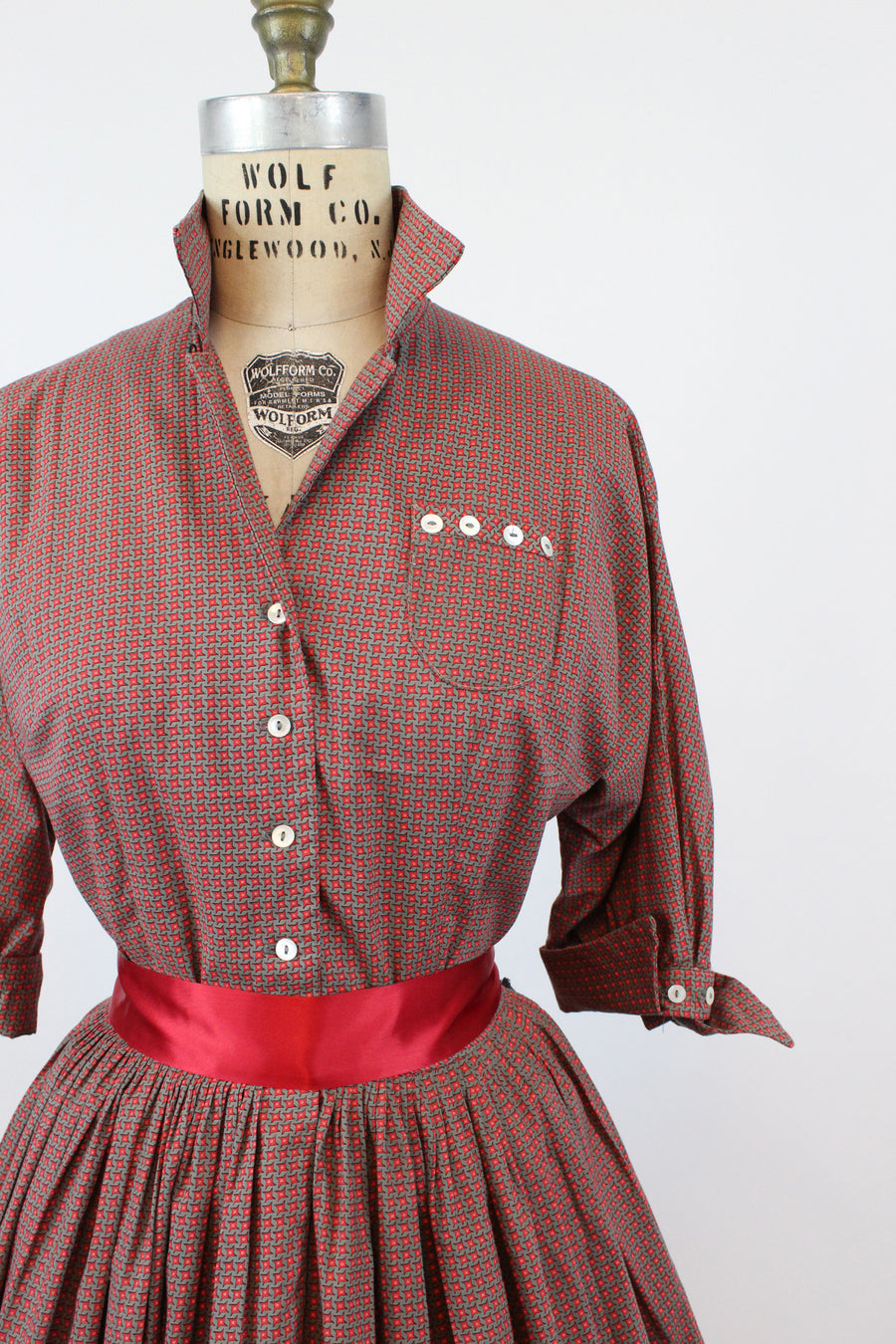 1950s shirtwaist dress | novelty pinwheel print Candy Jones | small