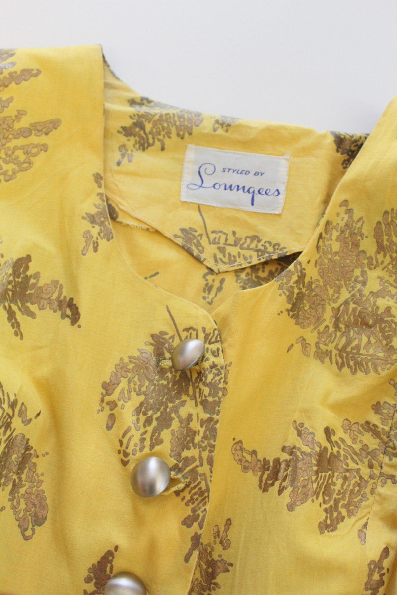 1950s novelty print dress | gold stamped ferns | small