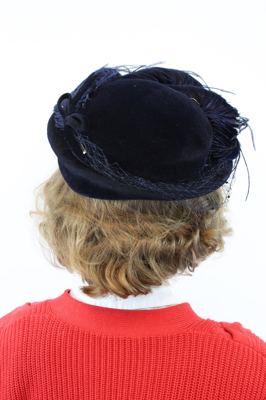 1950s tilt hat | velour marabou feather | brimmed hat