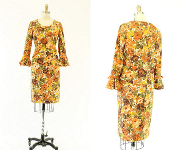 1960s linen autumn floral suit | rose print jacket and skirt | small