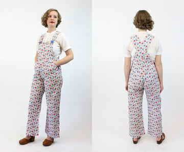 1920s beach pajamas | art deco overalls cotton jumpsuit | xs petite