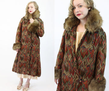 1920s RARE flame stitch wool fur coat |  vintage jacket dropwaist | small medium