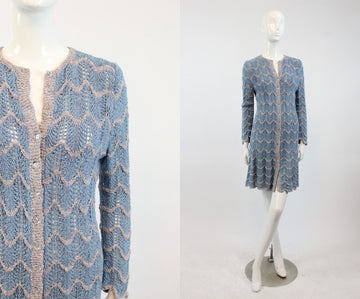 1930s crochet knit dress | button tunic | xs-small