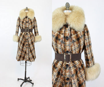 1960s fur collar coat | youthcraft vintage plaid coat | medium