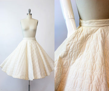 1950s circle skirt | quilted corduroy | xxs