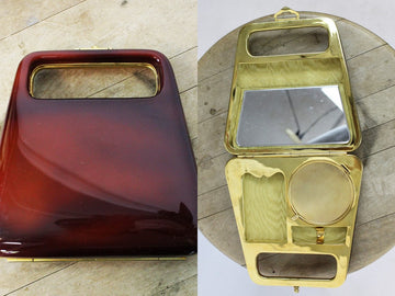 1960s bakelite purse | clutch bag  | makeup compact