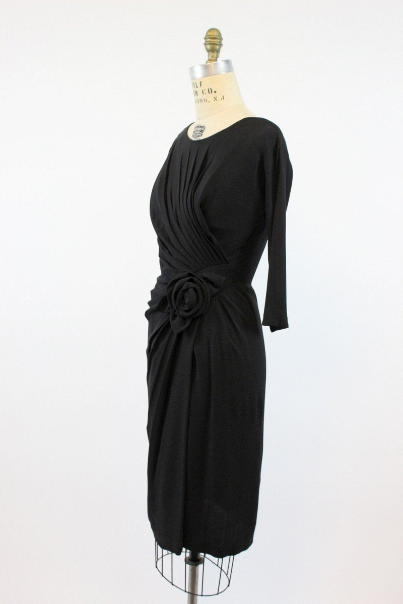 1950s Dorothy O'Hara draped wiggle dress xs  | vintage 50s rosette sarong skirt | new in