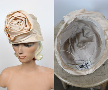 1960s turban hat | satin cloche | J.W. Robinson