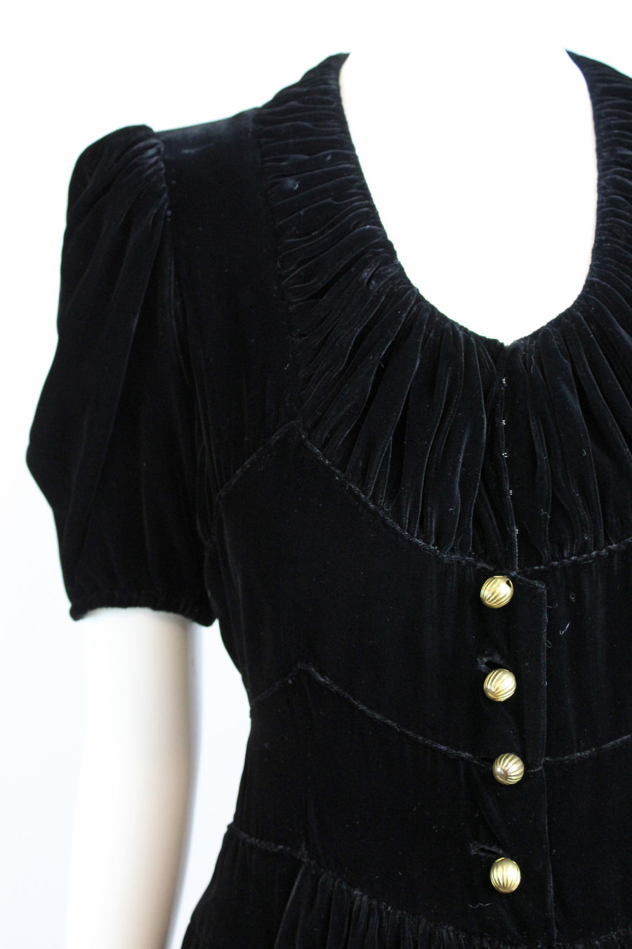 1930s silk velvet dress | fitted waist | small