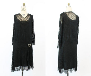 1920s flapper dress | lace silk dropwaist vintage | medium