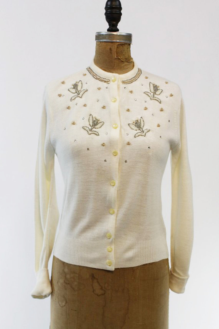 1950s beaded cardigan | orlon knit floral sweater | small - medium