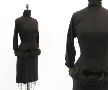 1950s LILLI DIAMOND dress | vintage fur trim wiggle | small