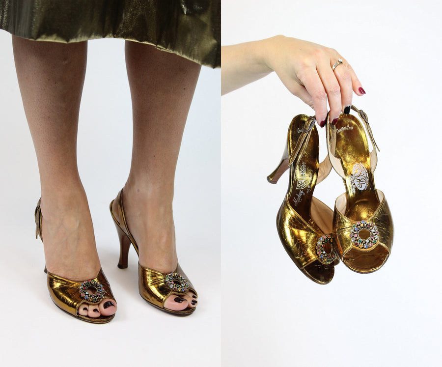 1950s gold shoes slingbacks | jeweled peep toe heels | size 5.5 us