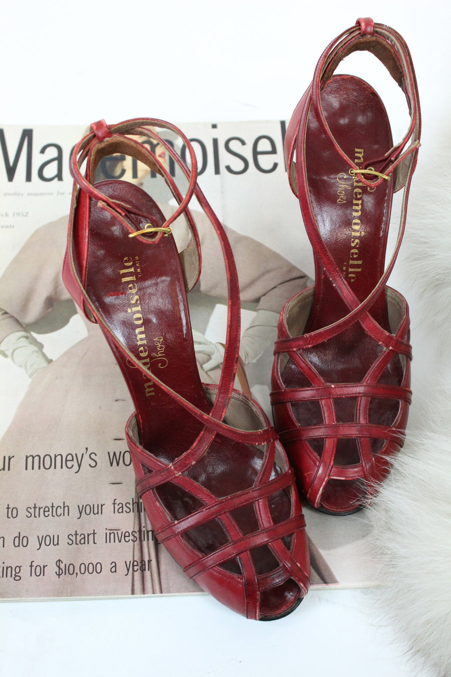 1940s strappy cage shoes size 6 narrow us | vintage mademoiselle ankle straps