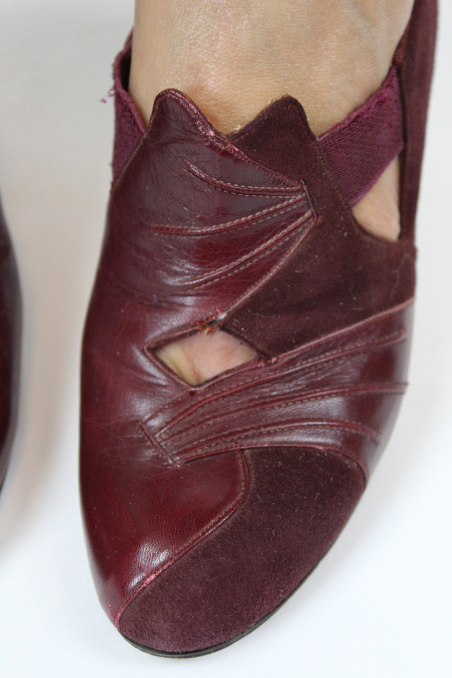 1930s suede leather shoes | slip on cutout heels | size 4.5