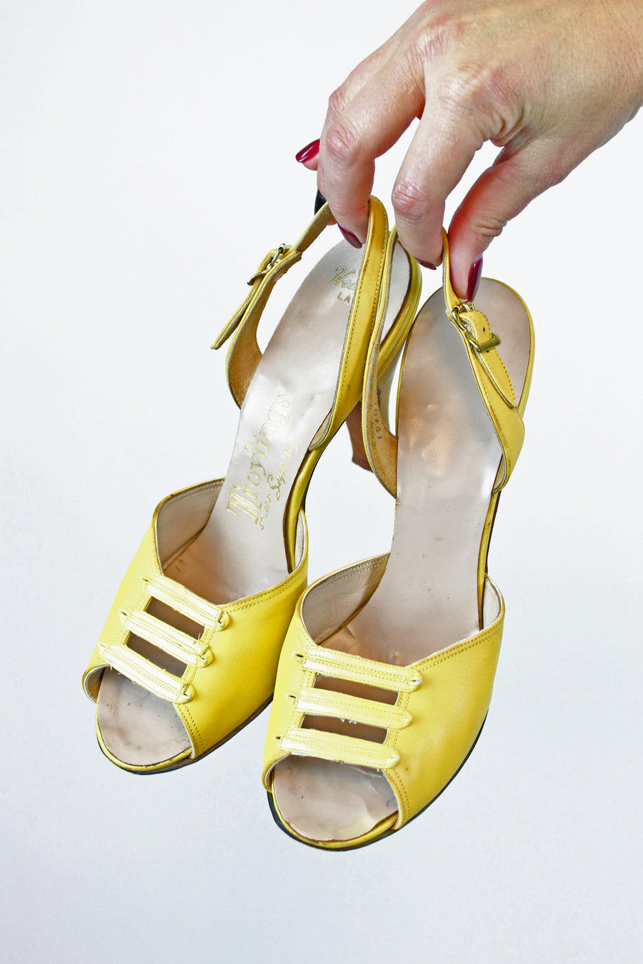 1950s peep toe shoes | vintage slingbacks | size 5.5