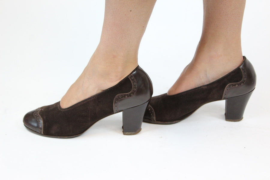 1930s spectator pumps | suede leather heels | size 7