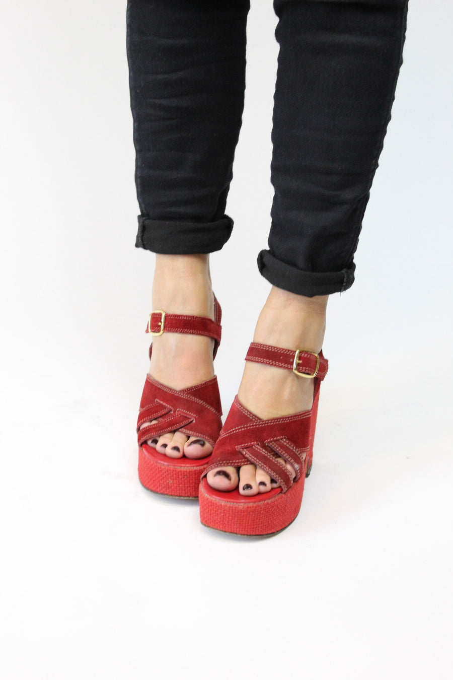1970s platform wedge shoes  | vintage suede sandals  | size 6 us