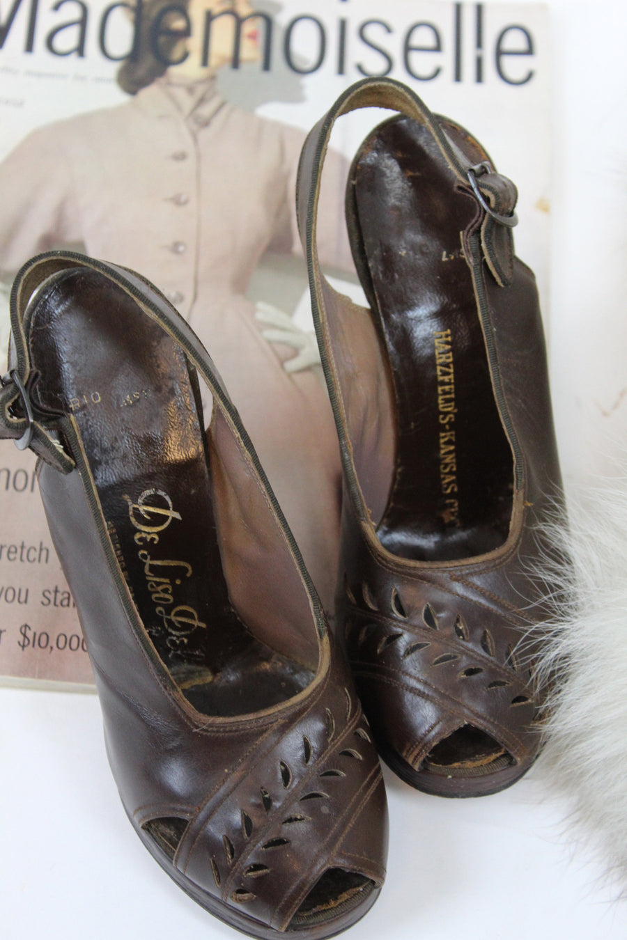 1940s peep toe platform shoes size 4 us | vintage peep toe slingbacks chocolate