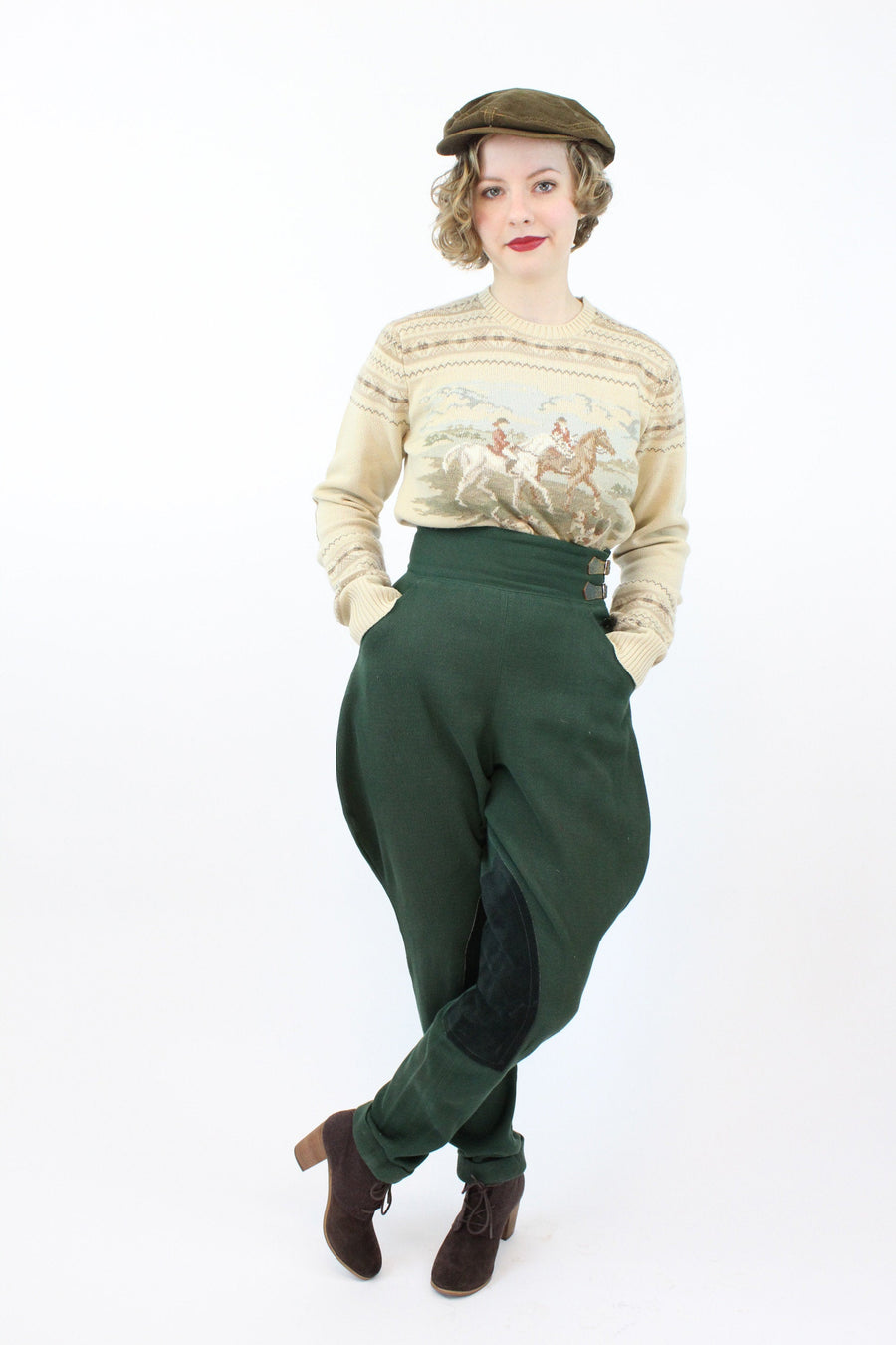 1930s 1940s jodhpurs riding breeches pants | wool trousers stirrups | xs