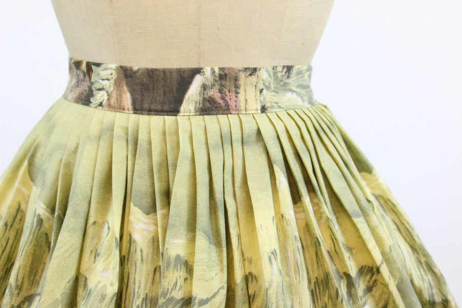 1950s john wolf oregon trail skirt | novelty print skirt | xs
