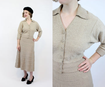 1940's knit set | skirt and top wool blend | small - medium