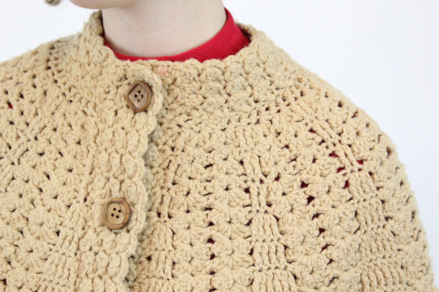 1960s knit cape | chunky camel knit jacket