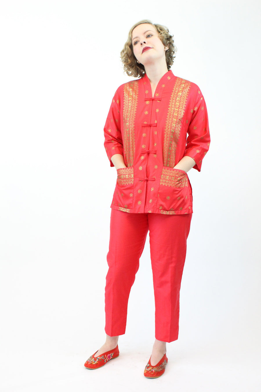 1950s asian two piece tea timer | vintage tunic and pants gold metallic | xs