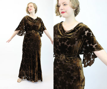 1930s burnout velvet pansy dress | vintage silk velvet gown | small medium