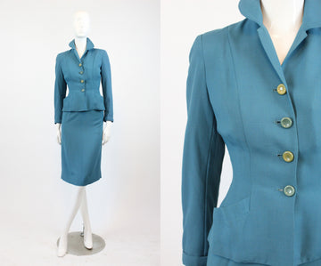 1940s gabardine suit sacony palm beaches | wool two piece set | xs