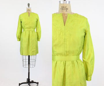 1960s chartreuse dress | mod mini | small