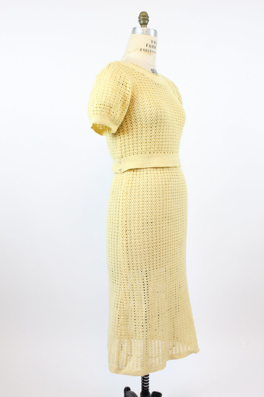 1930s knit set | top and skirt crochet wool | medium