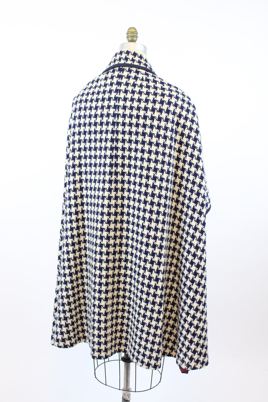 1960s houndstooth cape | woven wool poncho | small - large
