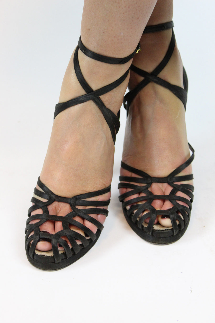 1940s ultra strappy shoes Size 4US | ankle strap platform cage heels
