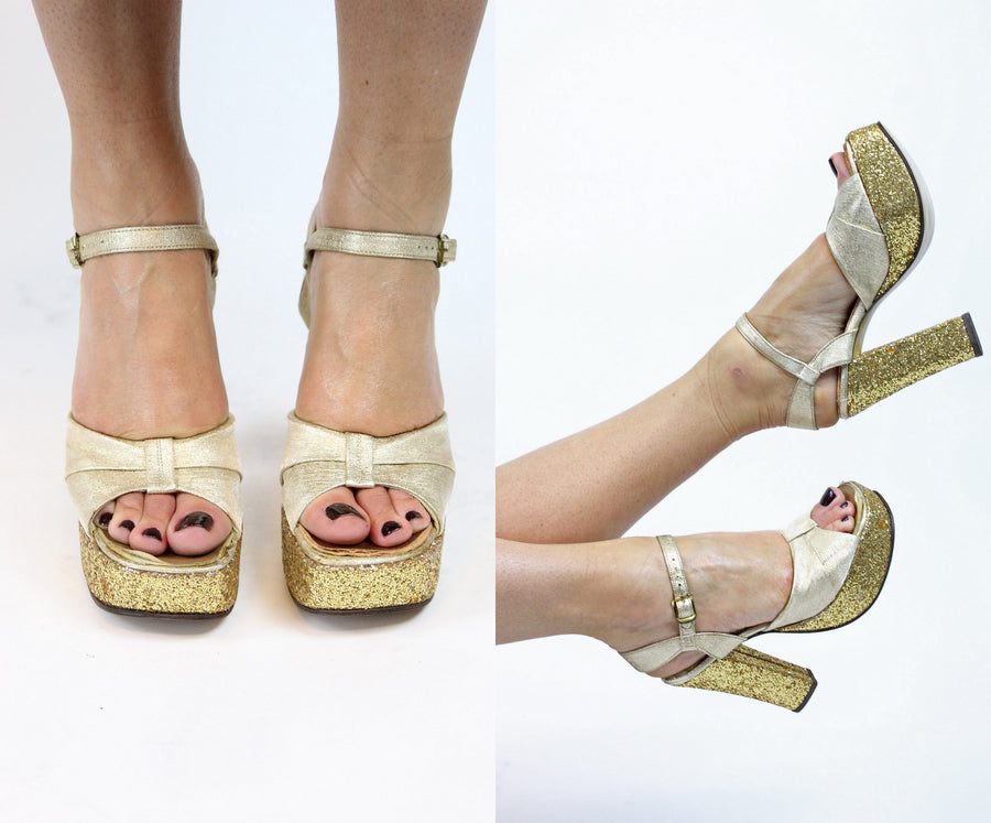 1970's gold platforms | glitter heel peep toes | size 5
