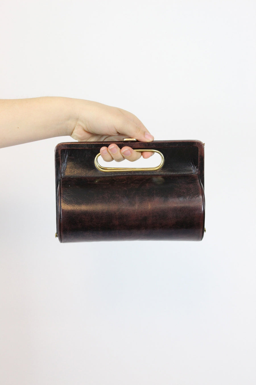1950s cylindrical purse | geometric novelty handbag | faux leather clutch