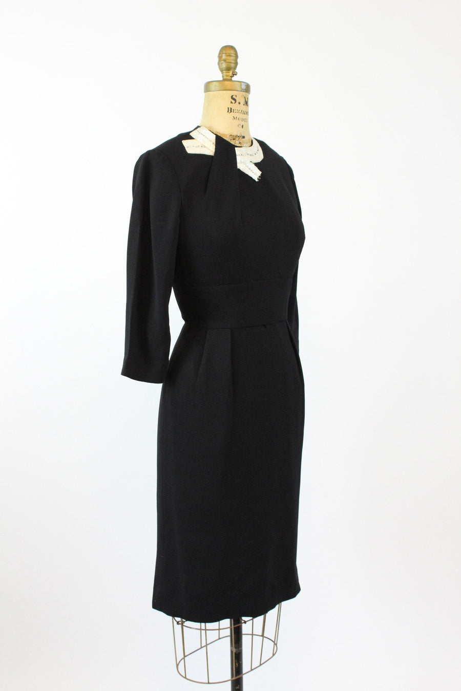 1960s black wiggle dress xs | vintage beaded collar dress | JMC