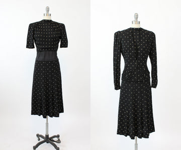 1930s two piece set | rayon cloque dress JMC | small