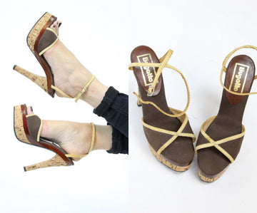 1970s platform shoes | cork heels ankle strap | size 5