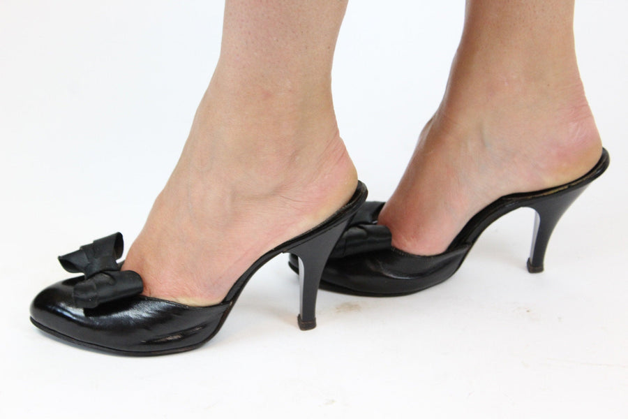 1950s Spring-o-Lator shoes | leather mule heels | size 5.5