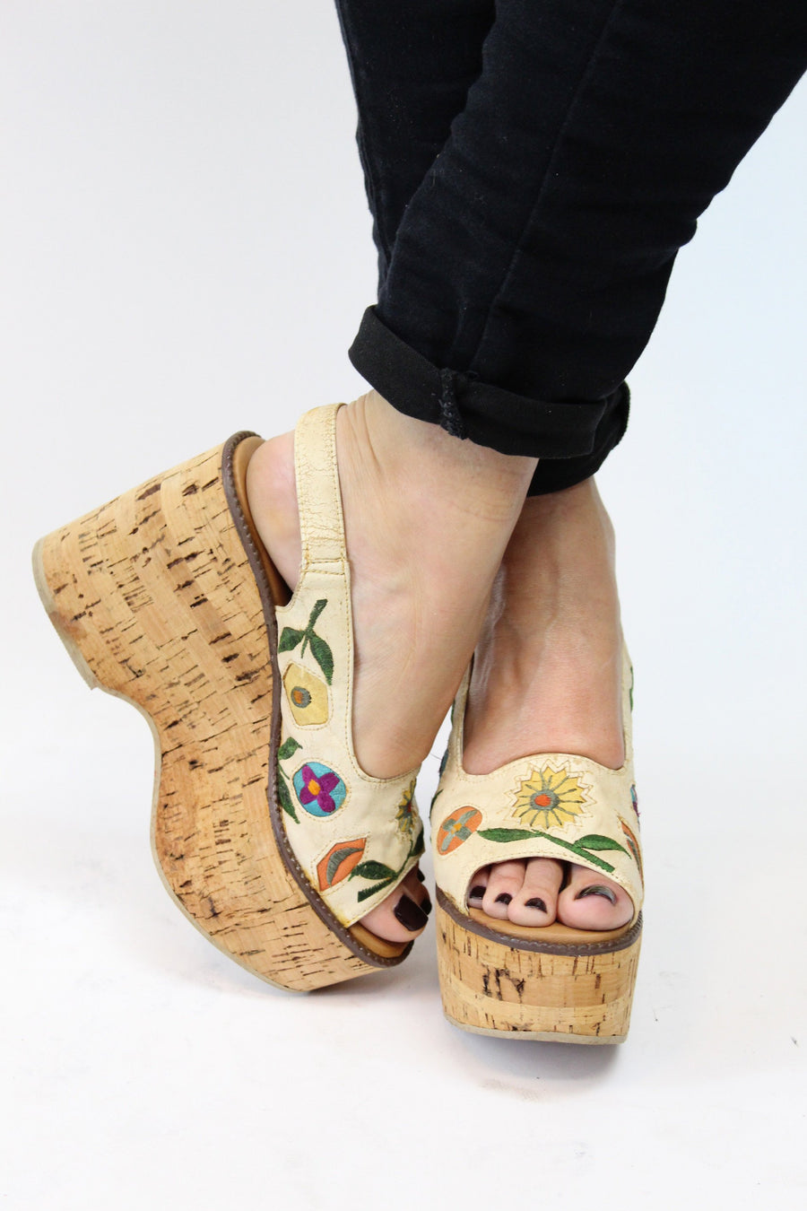 1970s cork platform shoes | deadstock leather floral sandals | size 5 us