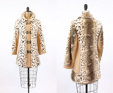 1960s faux leopard coat | wool car jacket | small