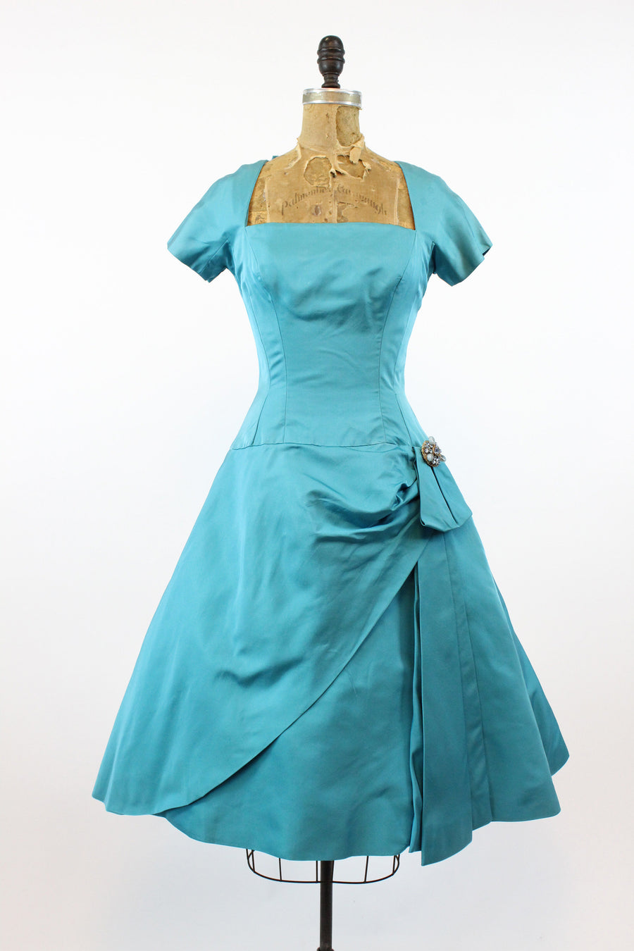 1950's hollywood silk dress | vintage cocktail full skirt | xs