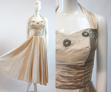 1950s nude satin beaded sequin halter dress | vintage wedding dress | xs
