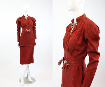 1930s leaf jacquard peplum dress | vintage leg o' mutton sleeves | small