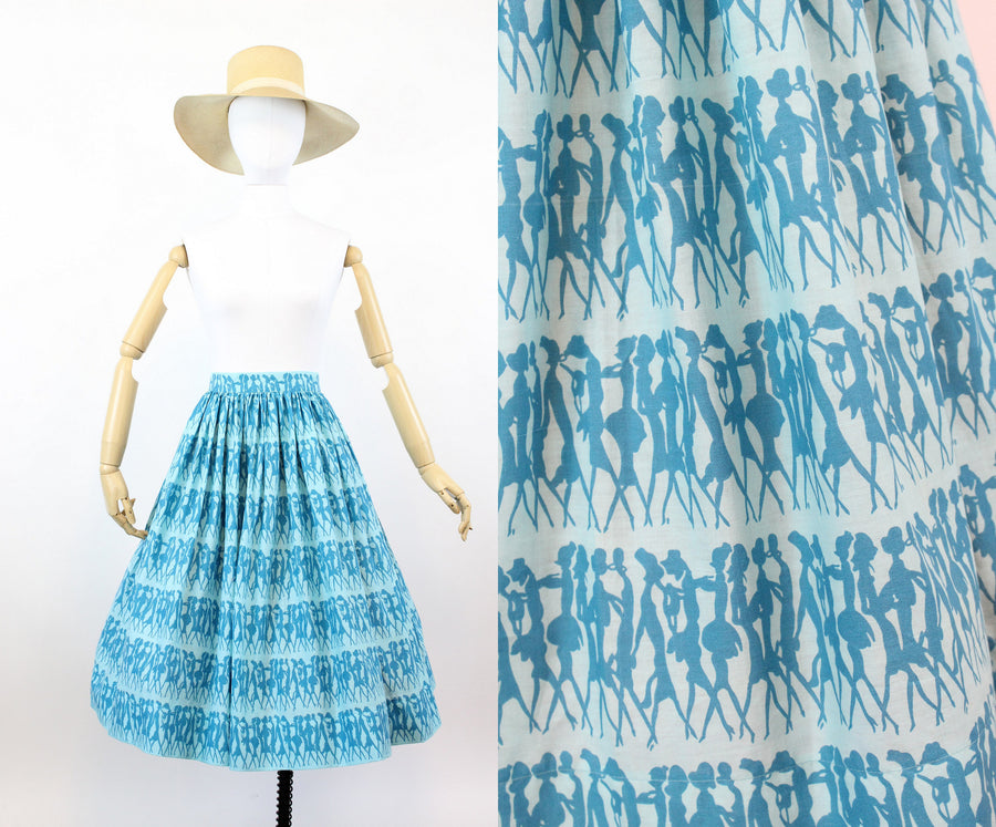 1950s fashion model print skirt | novelty print cotton full skirt | xs