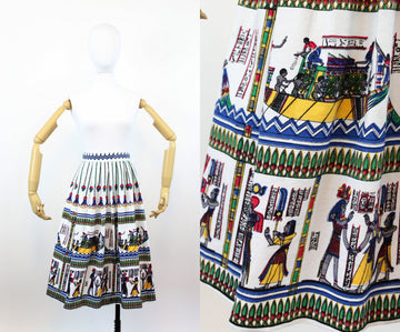 1950s novelty skirt | cotton canvas Egypt print | xs - small