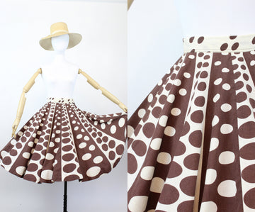 1950s op art circle print skirt  | novelty print cotton skirt | xxs