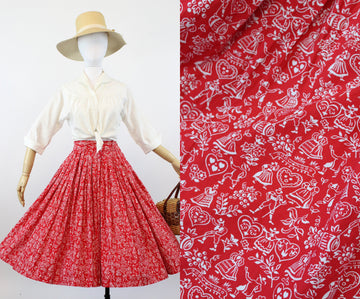 1950s folkloric print heart skirt  | cotton novelty print skirt | xs
